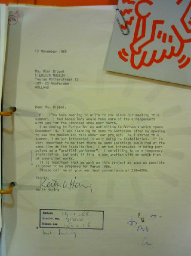 Keith Haring's first letter to Rini Dippel (foto Stedelijk Museum Amsterdam Archive)
