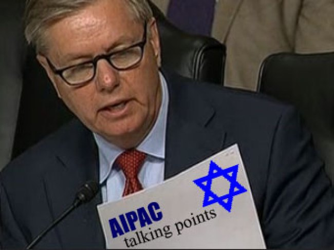 Lindsey Graham with AIPAC talking points (foto Veterans Today)
