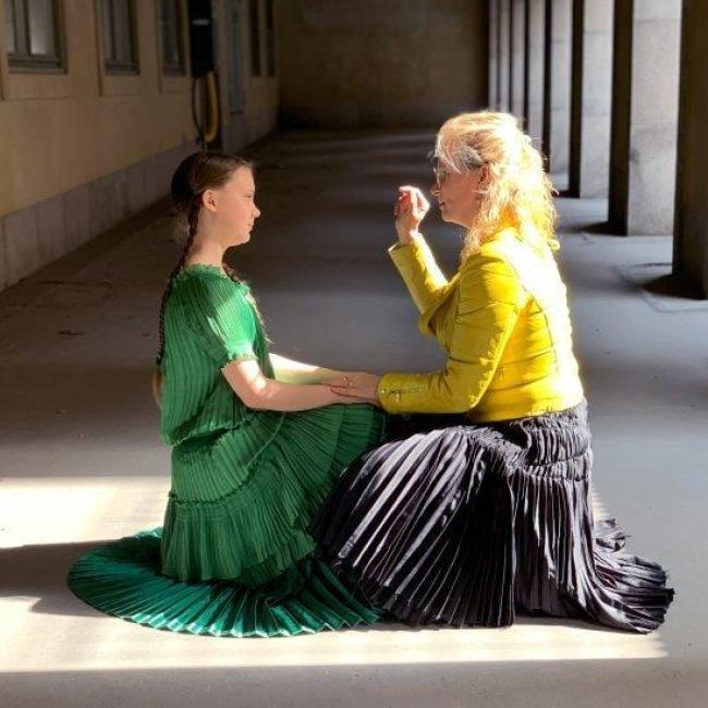Hellen van Meene met Greta Thunberg (foto NH Nieuws)