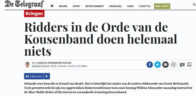 Alle Telegraaf lezers tot in lengte van dagen geloven, dat de Ridders van Order van de Kousenband helemaal niets doen (foto Niburu)