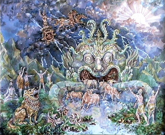 Indra Shakes Vala's Cave Painting by A. Fantalov (foto harekrsna)