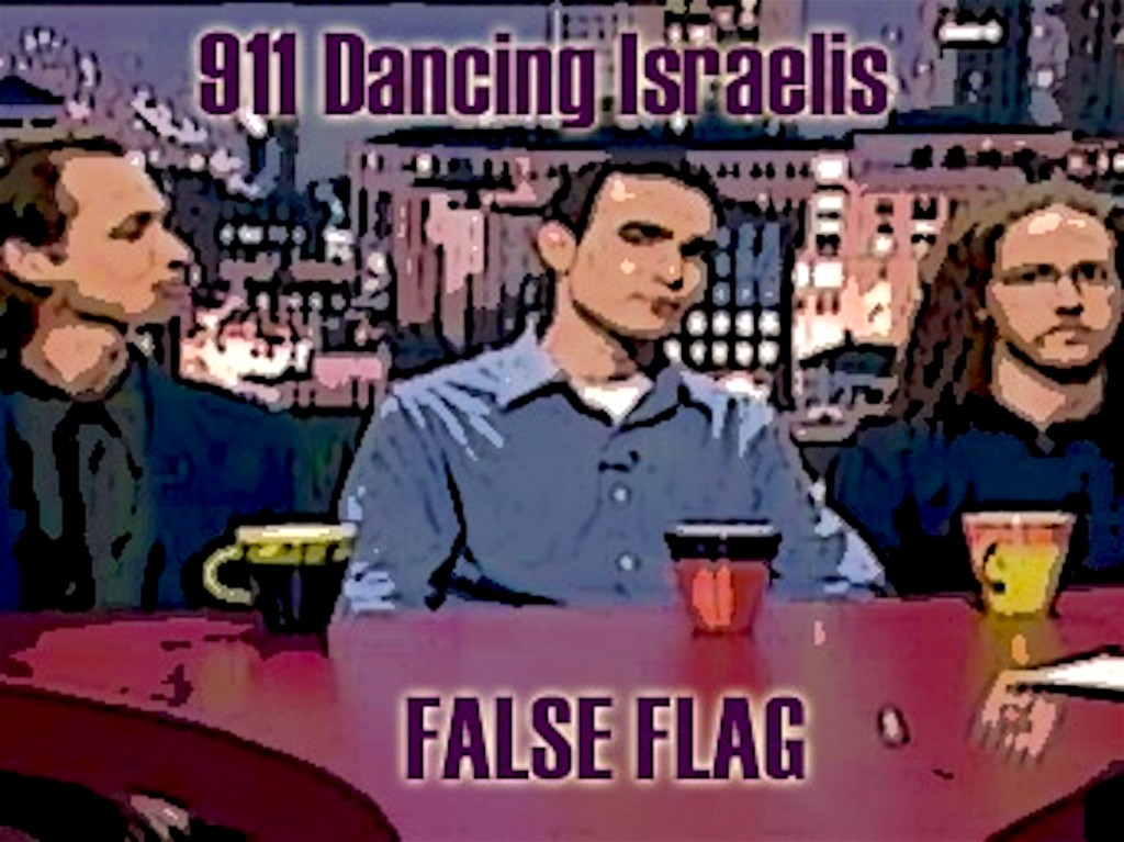 Three of the five Dancing Israelis (foto Henry Makow)