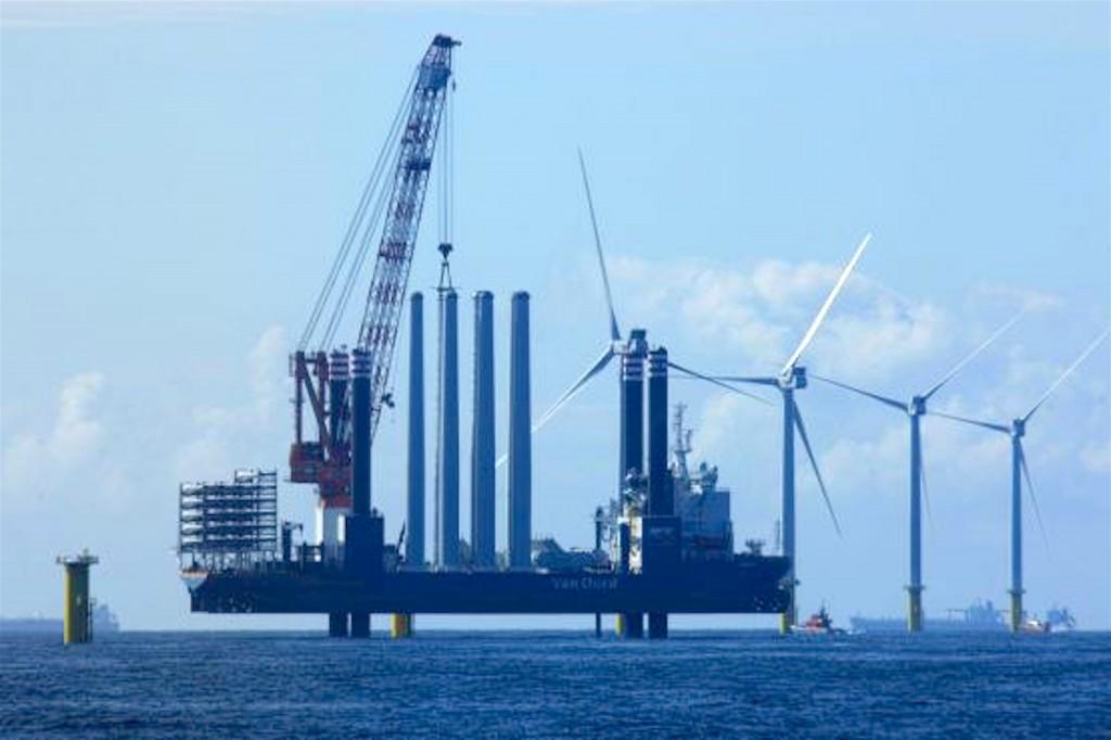 De aanleg van een windmolenpark (foto NHD)