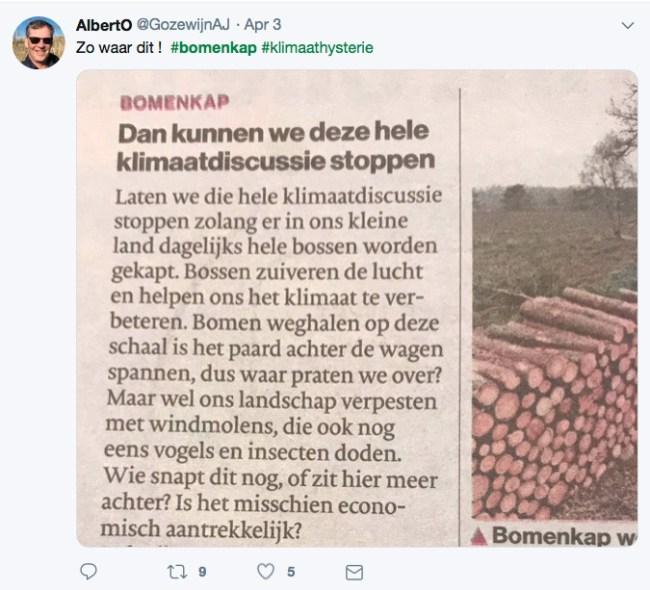 Tweet van AlbertO over bomenkap (foto Ella ster)