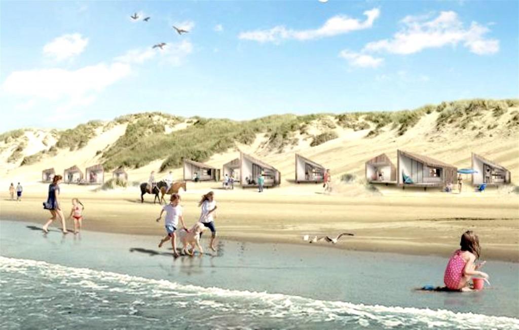 Beoogde strandhuisjes bij Petten (foto NHD)