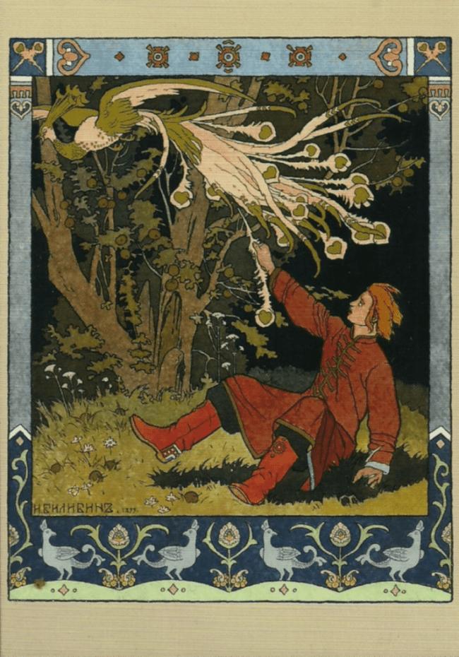 Ivan Bilibin's illustration to a Russian fairy tale about the Firebird, 1899 (foto Wikipedia)