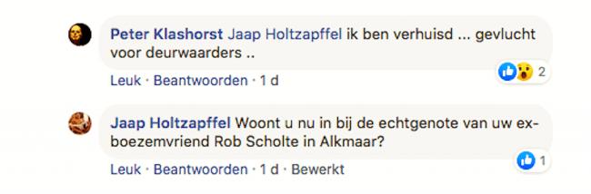 Reactie van Jaap Holtzapffel en Peter Klashorst, een blauw duimpje, nu onzichtbaar op foto (foto Facebook)