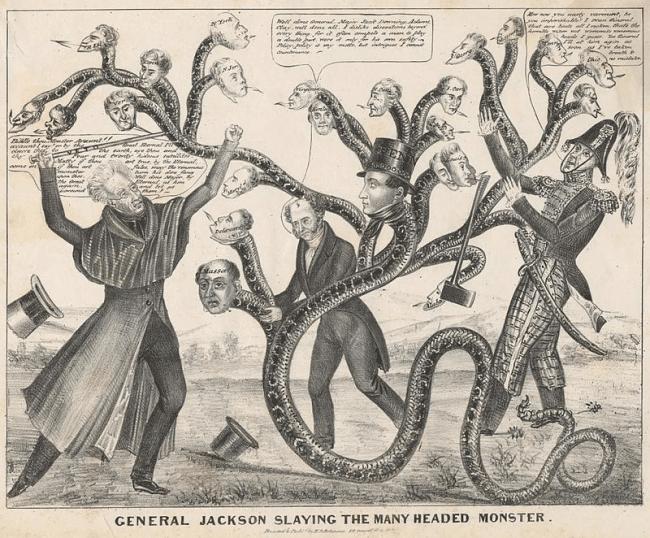 Cartoon depicting Jackson battling the many-headed monster of the Bank (foto Wikipedia)