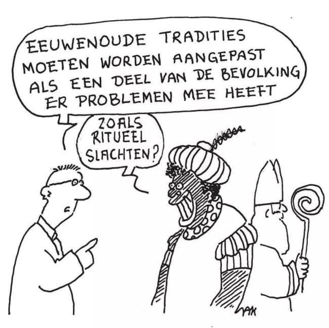 Eeuwenoude tradities moeten worden aangepast als een deel van de bevolking er problemen mee heeft (foto YouTube)