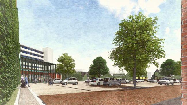 Het nieuwe parkeerterrein en waar de groene luifels hangen, zit het huidige restaurant d'Oude Gast (foto Zeestad)