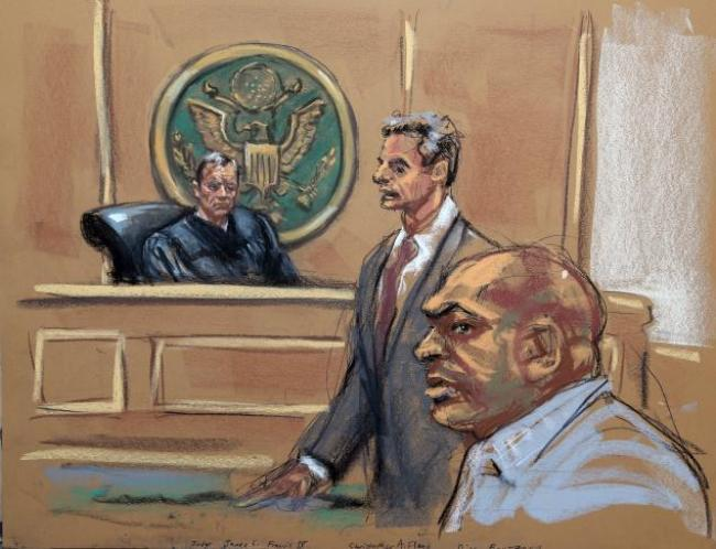 Dino Bouterse in Federal Court Manhattan (Jane Rosenberg:New York Daily News)