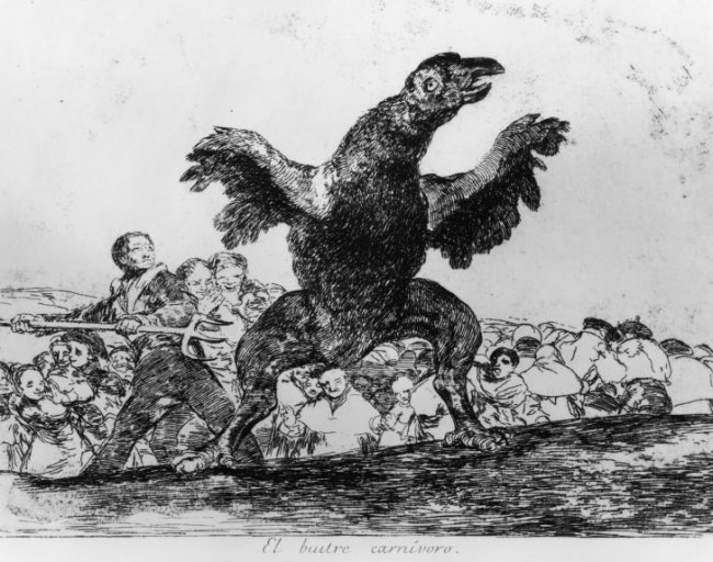 """Francisco Goya - El Buitre Carnivoro (The Carnivorous Vulture), part of series """"The Disasters Of War."""