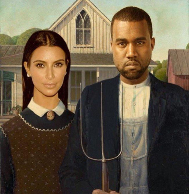 Kim Kardashian & Kanye West do American Gothic again (foto Twitter)
