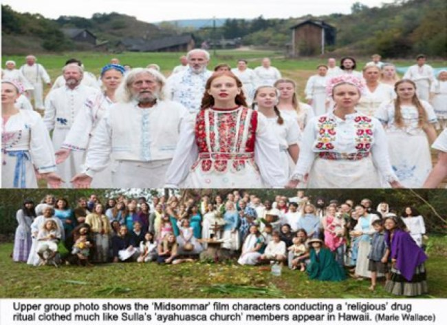 'Midsommar' film characters conducting a 'religious' drug ritual (foto Before It's News)