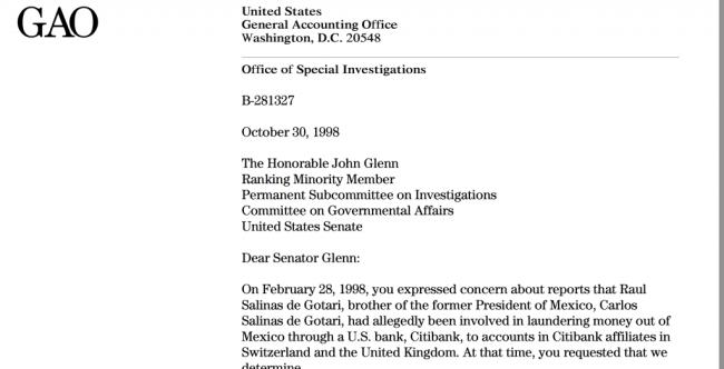 US General Accounting Office - Letter to Senator John Glenn, October 30, 1998