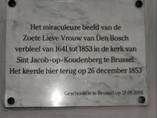 Zoete Lieve Vrouwe verbleef van 1641 - 1853 in de kerk van Sint Jacob op Koudenberg te Brussel, keerde terug in DB op 26 december 1853 (foto Zoover)