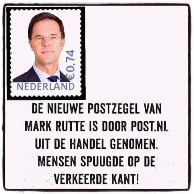 De nieuwe postzegel van Mark Rutte is door Post.nl uit de handel genomen (foto Twitter)