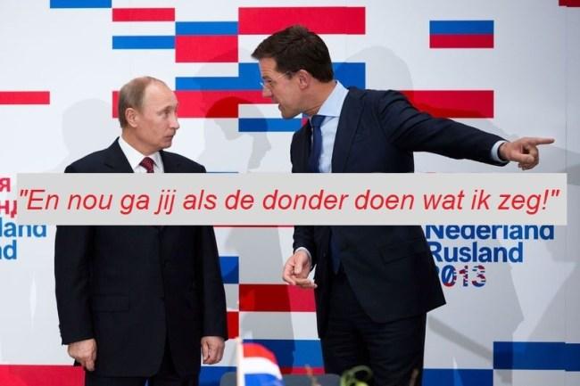 "Mark Rutte tegen Vladimir Putin ""Nou ga jij doen wat ik zeg (foto Irma Schiffers)"