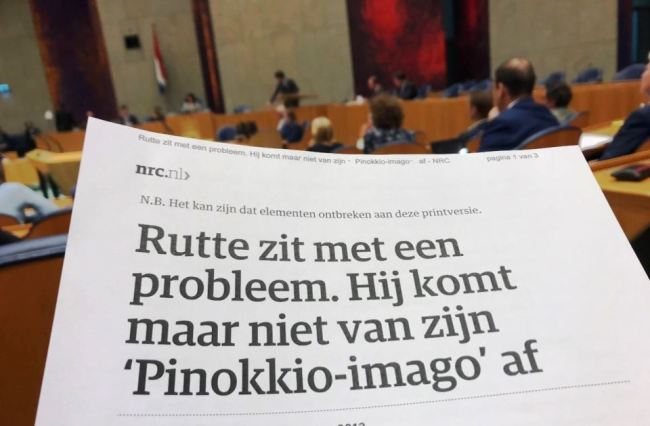 NRC Rutte komt maar niet van zijn 'Pinokkio imago' af (foto 50PLUS Partij)