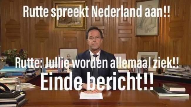 Rutte spreekt Nederland aan!! (foto Twitter)