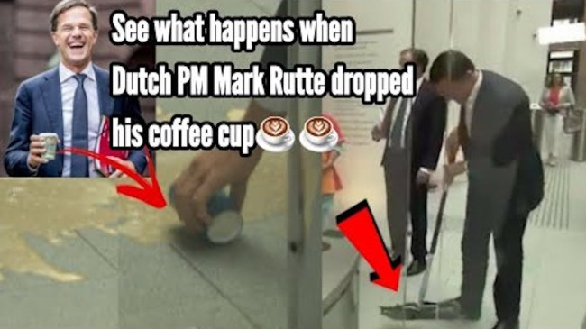 See what happens when Dutch PM Mark Rutte dropped his coffee cup (foto YouTube)
