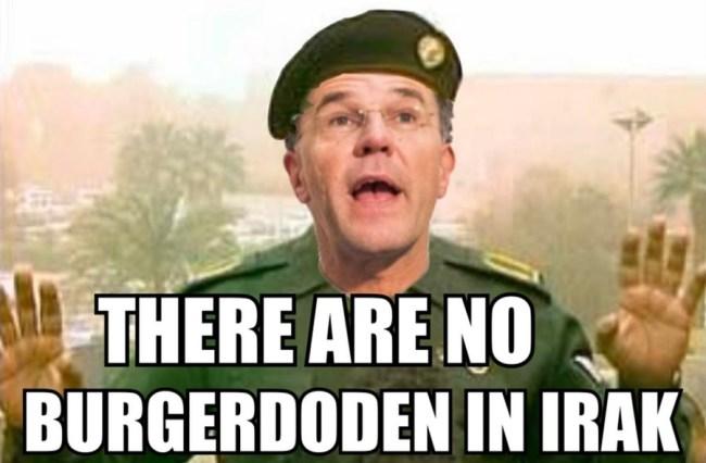 There are no burgerdoden in Irak (foto GeenStijl)