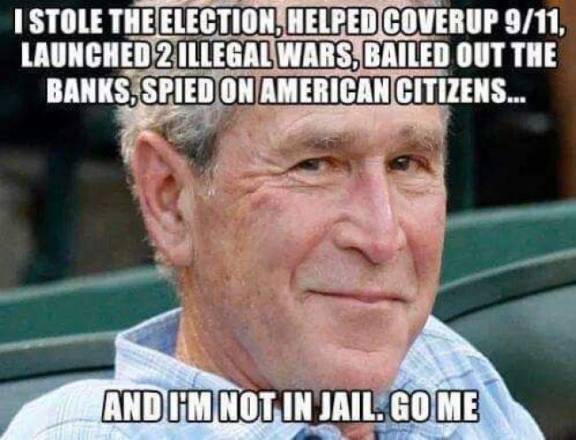 BUSH stole election, 9/11, 2 wars GET HIIM (foto Tom Heneghan)