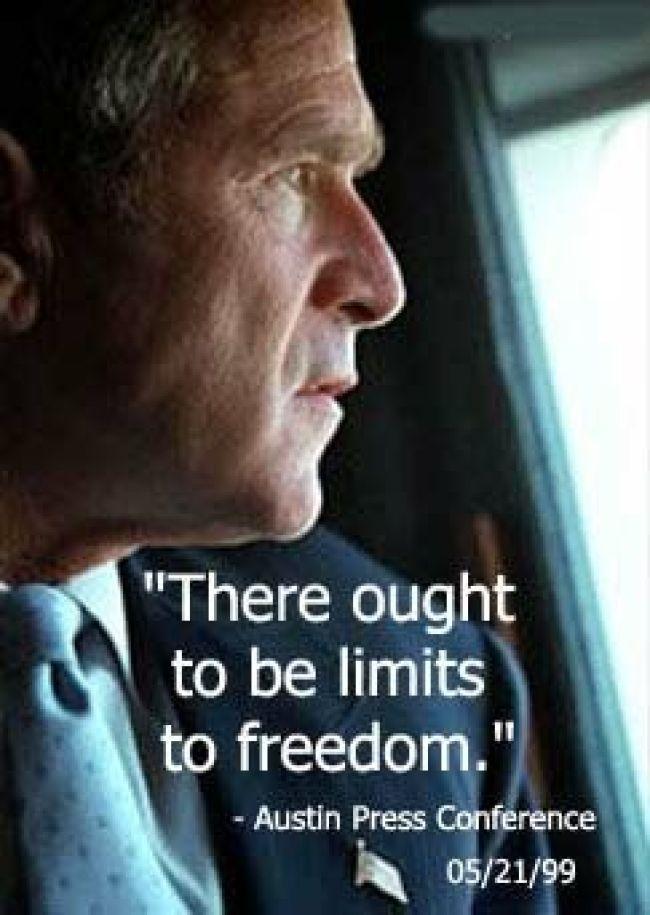 Bush Limits to Freedom ( foto Tom Heneghan)