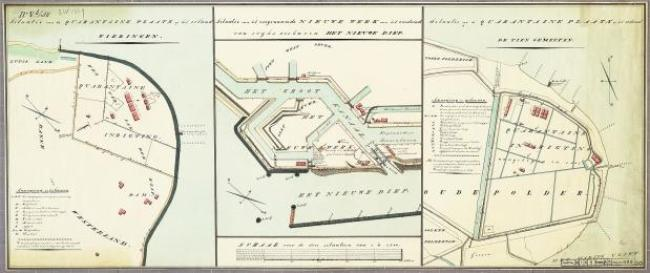 Kaart uit 1838,o.a. het Quarantainestation, rechts eiland, verder het quarantainestation in Tiengemeten (Zuid-Holland) en deel van Het Nieuwe Werk bij haven van Den Helder