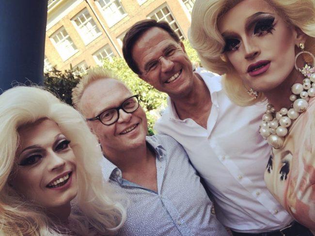 Claire Coomen, Frits Hufnagel, Mark Rutte & Petty 'Pam Pam' Min (foto Vrije Tijd Amsterdam)