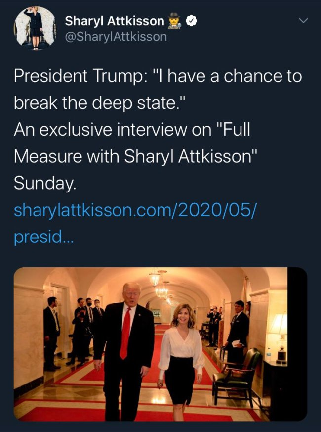 I have a chance to break the Deep State, tweet by Sharyl Attkisson @SharylAttkisson