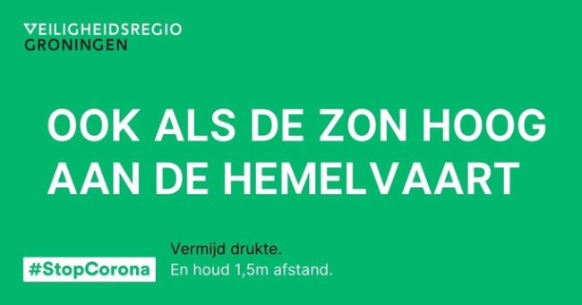 Mysterieuze boodschappen van de dichtende chef Veiligheidsregio Groningen Ook als de zon hoog aan de hemelvaart (foto Twitter)