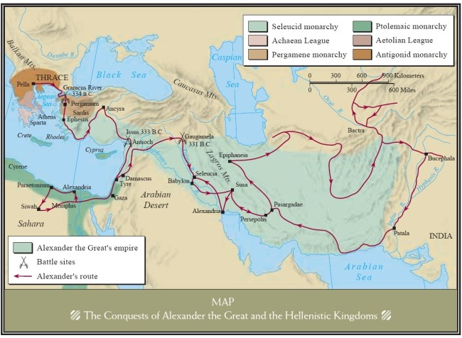 Conquests of Alexander the Great and the Hellenistic Kingdoms 334 - 323 BC (foto Pinterest)