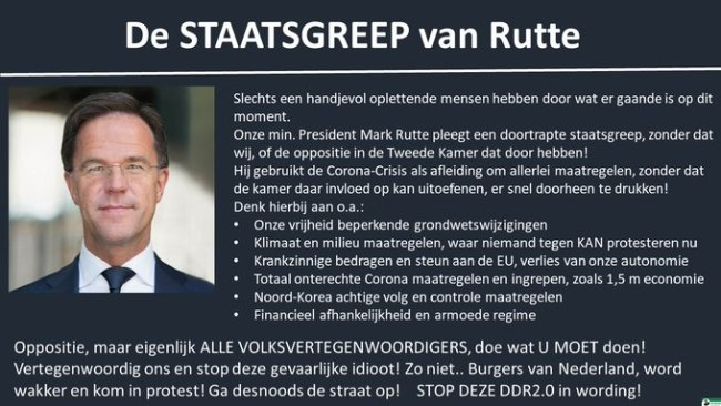 De staatsgreep van Rutte (foto Twitter)