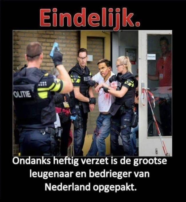 Eindelijk Rutte opgepakt (foto Stop PAS Familiedrama NU)