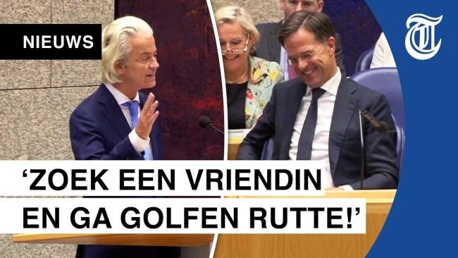 Geert Wilders tegen Rutte Zoek een vriendin (foto De Telegraaf)