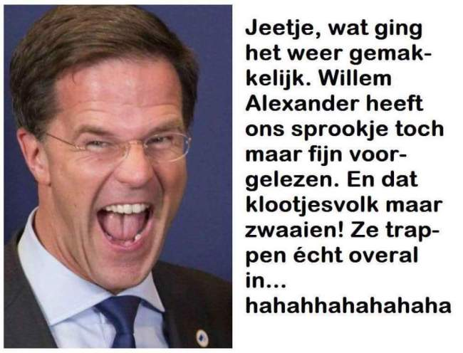 Het sprookje van Mark Rutte en Koning Willem Alexander (foto Twitter)