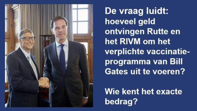 Hoeveel geld ontvingen Rutte & RIVM om het verplichte vaccinatieprogramma van Bill Gates uit te voeren (foto Twitter)