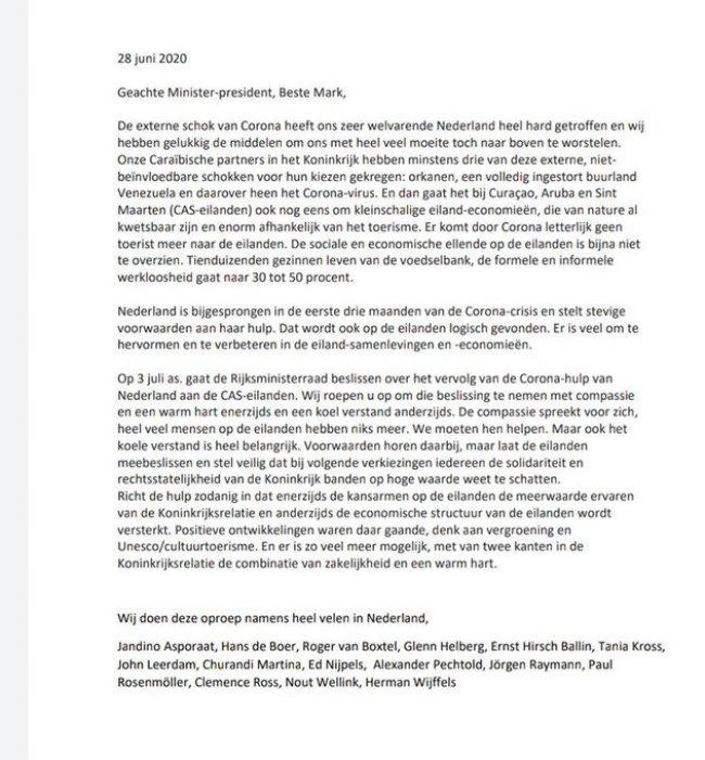 Jandino Aporaat cum suis - Brief aan Minister President Mark Rutte (foto Twitter)