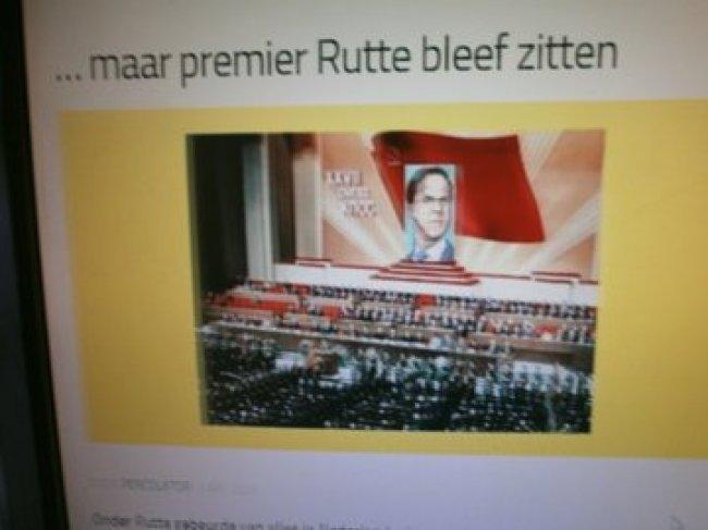 Maar premier Rutte bleef zitten (foto Twitter)