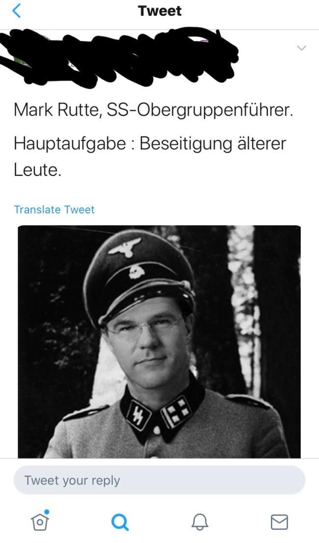 Mark Rutte, SS Obergruppenführer (foto Twitter)