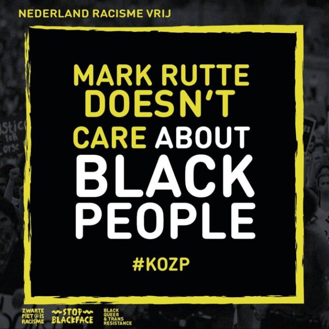 Mark Rutte doesn T care about BLACK PEOPLE (foto Twitter)