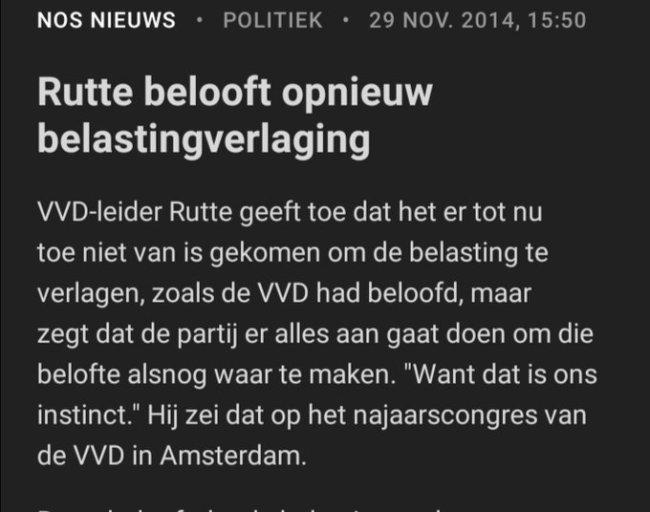 Rutte belooft opnieuw belastingverlaging (foto Twitter)