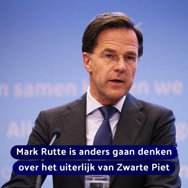 Rutte is anders gaan denken over het uiterlijk van Zwarte Piet (foto Picuki)