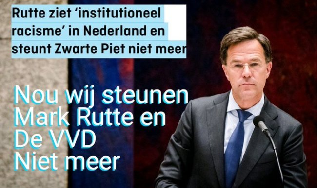 Wij steunen Mark Rutte en de VVD niet meer (foto Twitter)