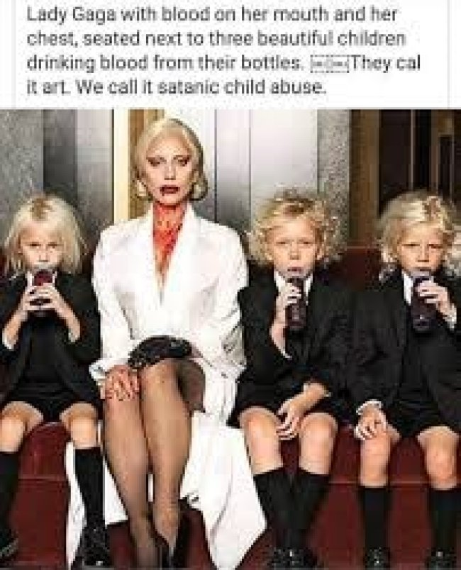 Lady Gaga with blood on her mouth, next to three blooddrinking children (foto Jew World Order)