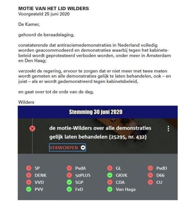 Motie van lid Wilders, 25 juni 2020 (foto Twitter)