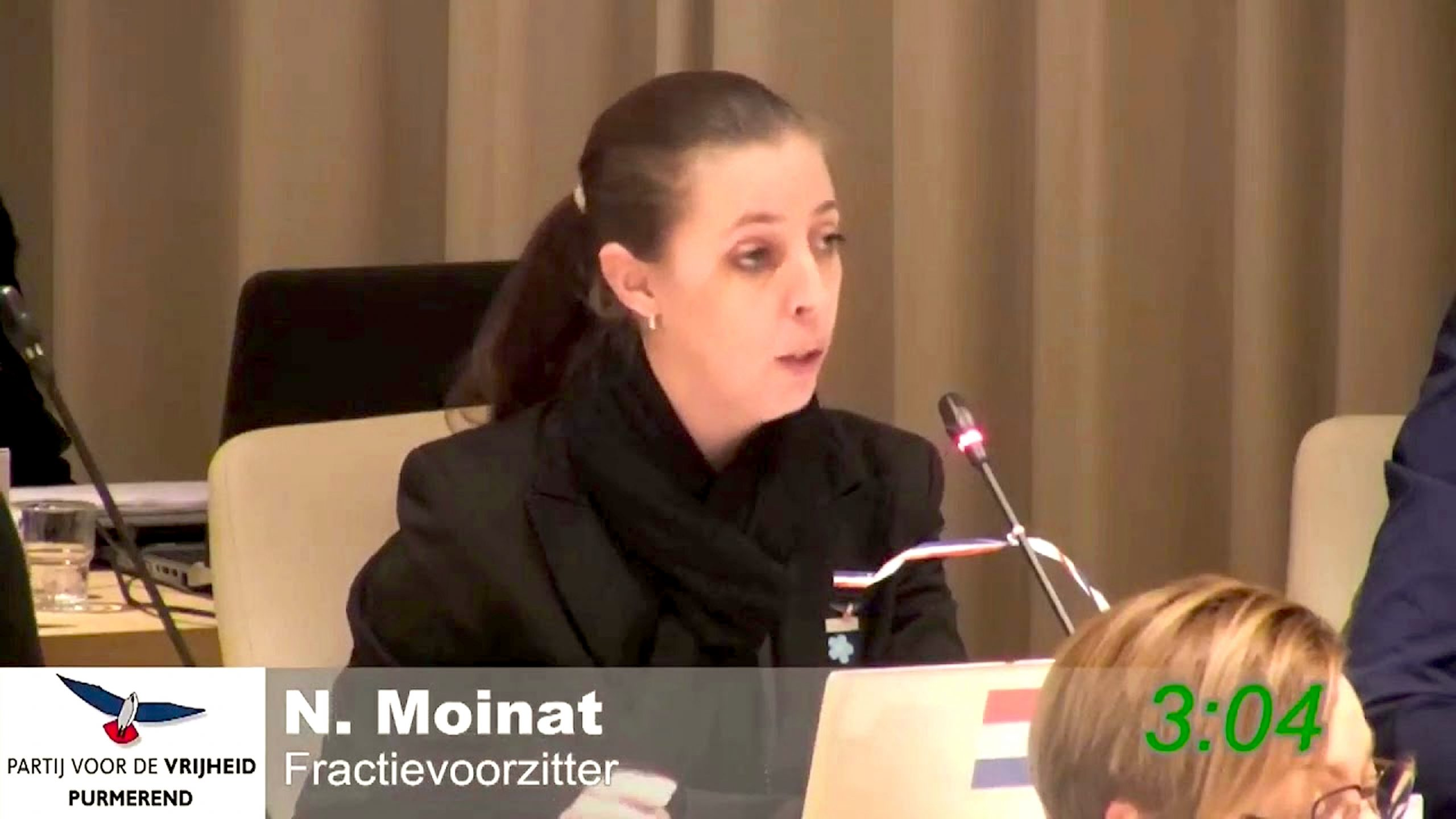 Nicole Moinat, raadslid PVV in Purmerend (foto YouTube)