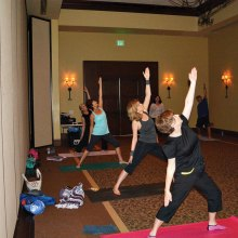 Wednesday 9:30 a.m. class from front to back in the Peaceful Warrior pose are Deb Nortunen, Mary Dickerson, Wendy Hicks, Ginny Brady, Susan Engstrom and Dick Cecil
