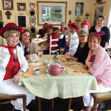 The Ladies with Hattitude enjoying their tea